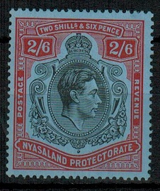 NYASALAND - 1938 2/6d black and red on blue mint.  SG 140.