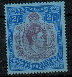 NYASALAND - 1938 2/- purple and blue on blue mint.  SG 139.