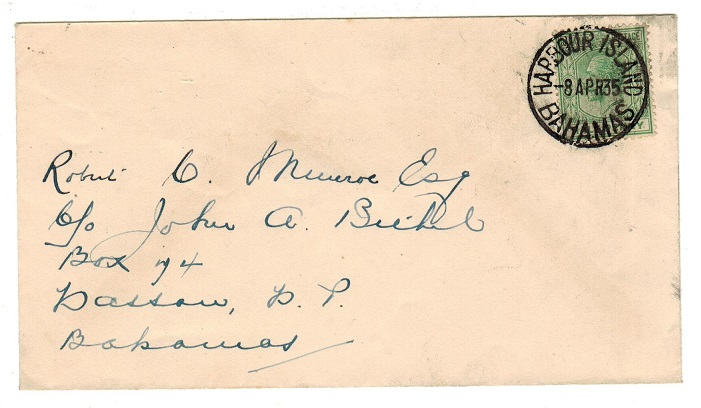 BAHAMAS - 1935 1/2d rate local cover used at HARBOUR ISLAND.