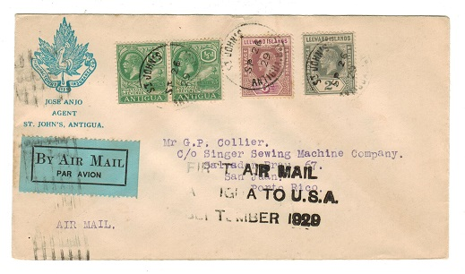 ANTIGUA - 1929 first flight cover to Porto Rico.