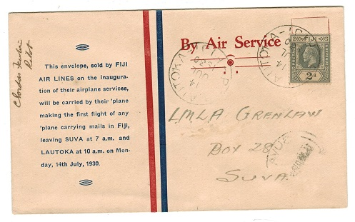 FIJI - 1930 first flight cover to Suva pilot signed.