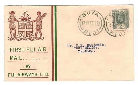 FIJI - 1933 first flight cover to Lautoka.