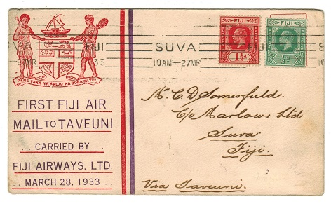 FIJI - 1933 first flight cover to Suva via Taveuni by Fiji Airways.
