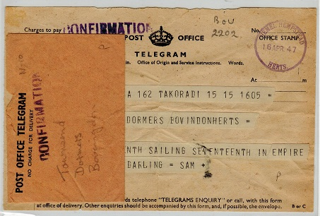 GOLD COAST - 1947 inward TELEGRAM from TAKORADI with envelope.