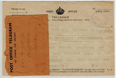 GOLD COAST - 1944 inward TELEGRAM from TAKORADI with envelope.