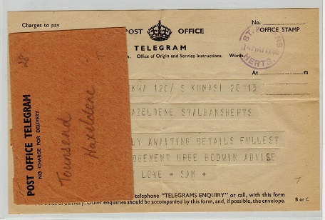 GOLD COAST - 1946 inward TELEGRAM from KUMASI with envelope.
