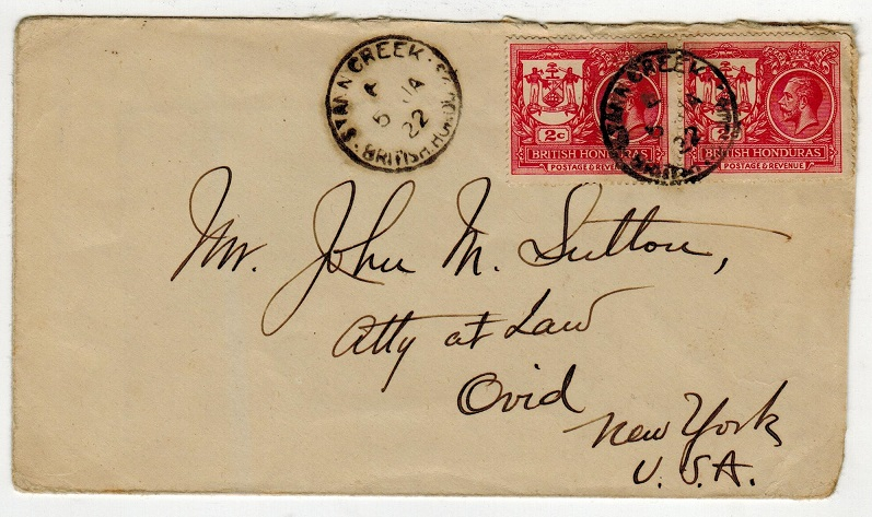 BRITISH HONDURAS - 1922 4c rate cover to USA used at STANN CREEK.