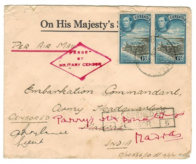 CEYLON - 1941 cover to India with PASSED/BY/MILITARY CENSOR h/s.