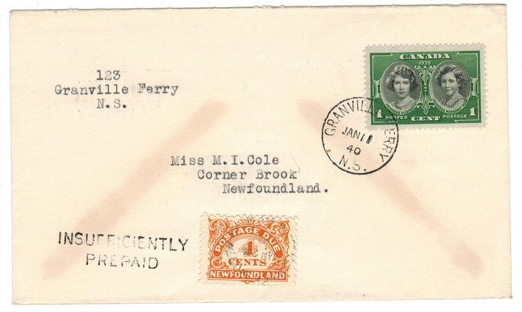 NEWFOUNDLAND - 1940 local underpaid cover with 4c