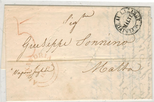 MALTA - 1844 inward PURIFIE AU LAZARET/MALTE disinfected mail entire from ALEXAMDRIA.