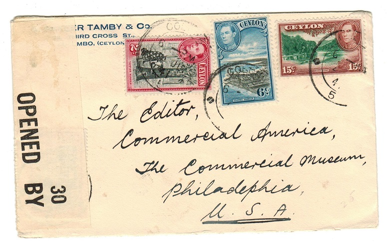 CEYLON - 1941 censor cover to USA.