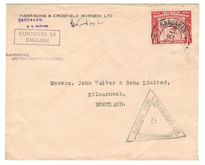 NORTH BORNEO - 1941 censor cover to UK used at SANDAKAN.