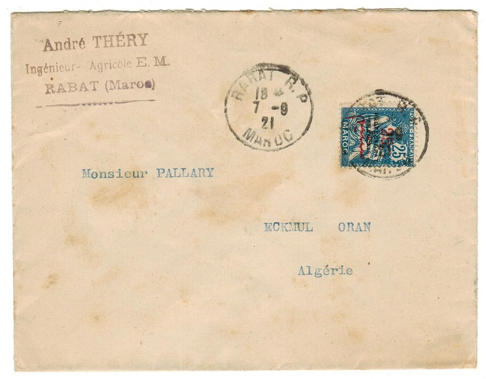 MOROCCO AGENCIES - 1921 cover to Algeria used at RABAT R.P.