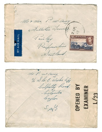 CEYLON - 1945 R1 rate censored cover to UK.