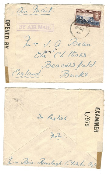 CEYLON - 1944 R1 rate censored cover to UK.