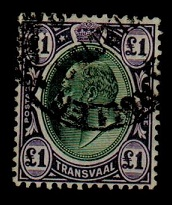 TRANSVAAL - 1908 £1 green and violet fine used.  SG 272a.