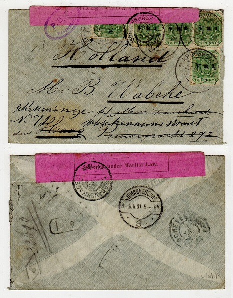 TRANSVAAL - 1901 censored cover to Holland used at KRUGERSDORP.