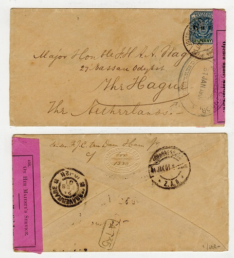 TRANSVAAL - 1901 censored cover to The Netherlands used at JOHANNESBURG.