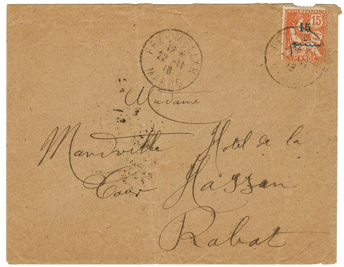 MOROCCO AGENCIES - 1918 local cover bearing 45c on 15c surcharge used at FEZ.