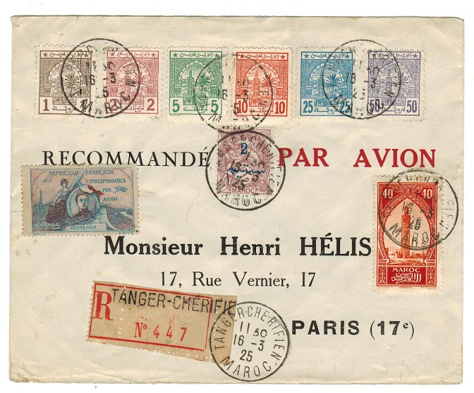 MOROCCO AGENCIES - 1925 registered cover to France with local and