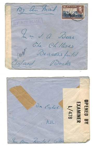 CEYLON - 1944 censored cover to UK used at COLOMBO.