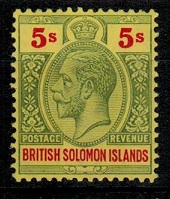 SOLOMON ISLANDS - 1914 5/- green and red on yellow mint.  SG 36.