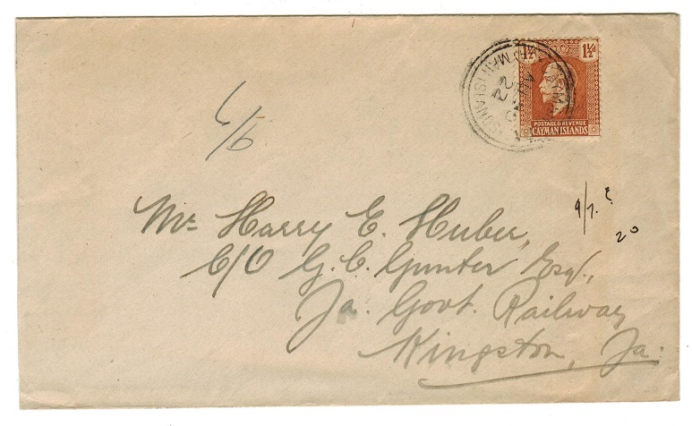 CAYMAN ISLANDS - 1922 1 1/2d rate cover to Jamaica used at CAYMAN BRAC.