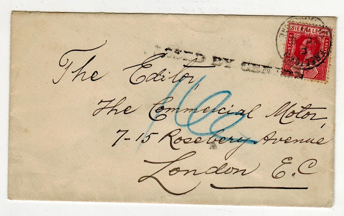 SIERRA LEONE - 1917 1d rate PASSED BY CENSOR cover to UK.