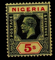 NIGERIA - 1926 5/- green and red on pale yellow (Die II) unmounted mint.  SG 28.