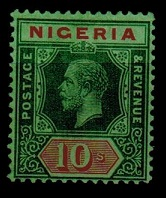 NIGERIA - 1921 10/- green and red on emerald mint.  SG 11d.