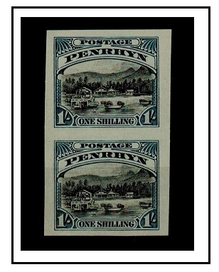 PENRHYN - 1920 1/- IMPERFORATE PLATE PROOF vertical pair. (SG 37).