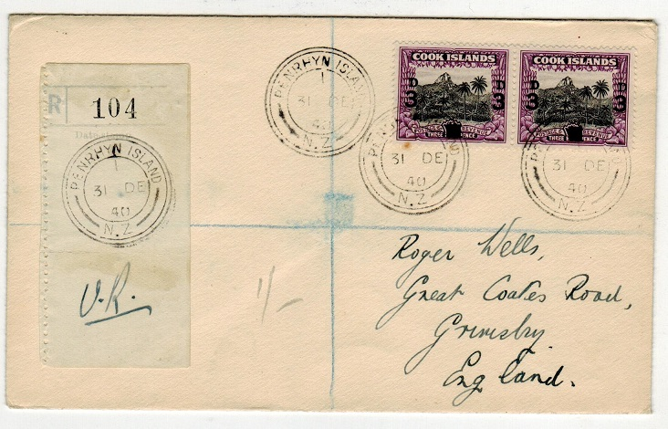 PENRHYN - 1940 3d on 1 1/2d surcharge pair on registered cover to UK.