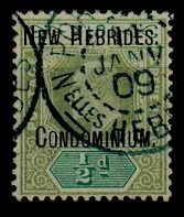 NEW HEBRIDES - 1908 1/2d green and grey green cancelled PORT VILA in