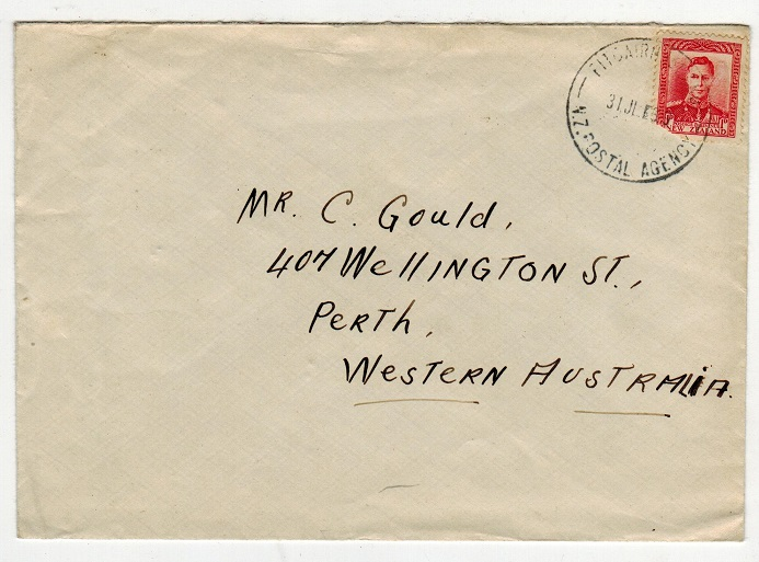 PITCAIRN ISLANDS - 1939 cover to Western Australia with NZ 1d tied PITCAIRN ISLAND.