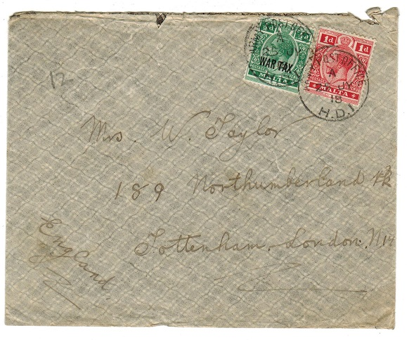MALTA - 1918 ARMY POST/H.D.1 cover to UK with 1/2d