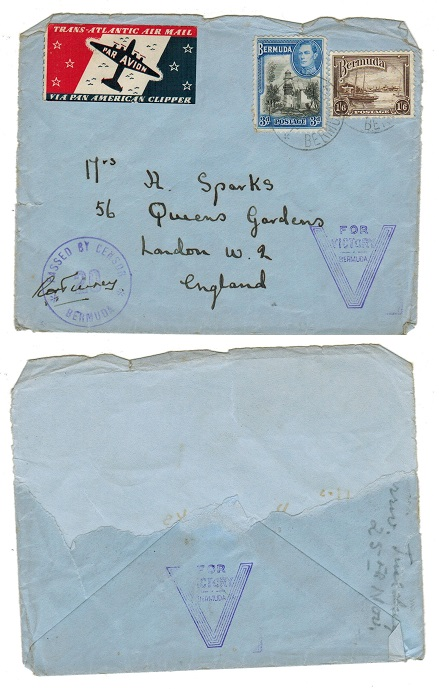 BERMUDA - 1941 censored cover (ex part of reverse) to UK with V FOR VICTORY h/s.