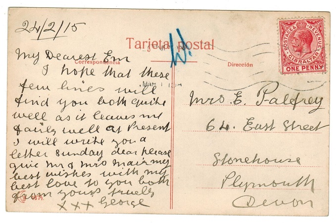GIBRLATAR - 1915 1d rate postcard to UK with
