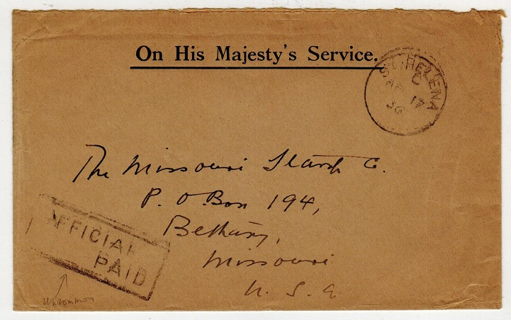 ST.HELENA - 1936 OHMS stampless cover to USA with OFFICIAL/PAID handstamp.