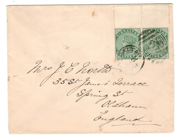 GIBRALTAR - 1902 QV 5c pair on cover to UK.