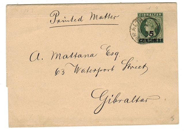 GIBRALTAR - 1899 5 CENTIMOS on 1/2d green postal stationery wrapper used locally.  H&G 4.