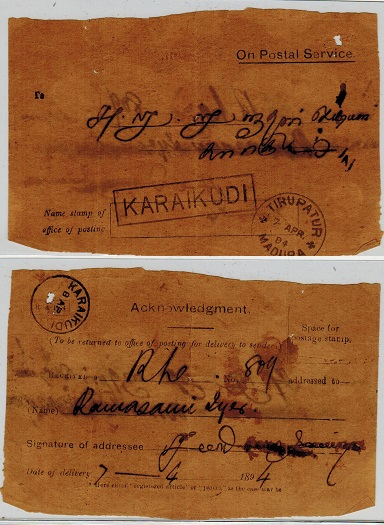CEYLON - 1894 ON POSTAL SERVICE/ACKNOWLEDGEMENT form used at KARAIKUDI.