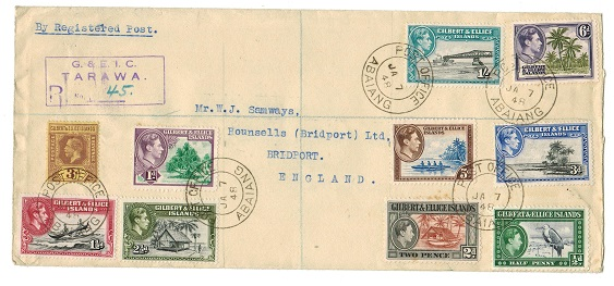 GILBERT AND ELLICE IS - 1948 registered cover to UK used at ABAIANG.