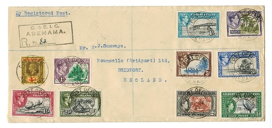 GILBERT AND ELLICE IS - 1947 registered cover to UK used at ABEMAMA.