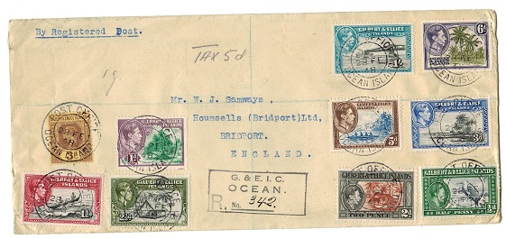 GILBERT AND ELLICE IS - 1948 registered cover to UK used at OCEAN ISLAND.