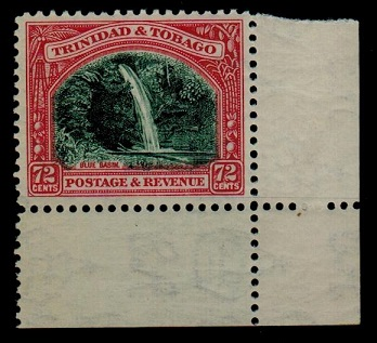 TRINIDAD AND TOBAGO - 1935 72c myrtle green and carmine unmounted mint.  SG 238.