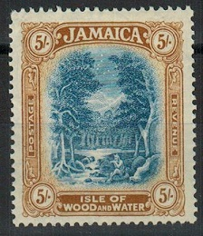 JAMAICA - 1929 5/- blue and pale bistre unmounted mint.  SG 105c.