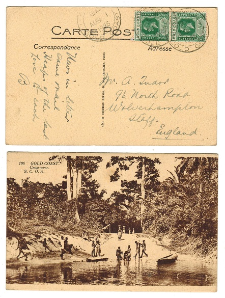 GOLD COAST - 1925 1d rate postcard to UK used at BEKWAI.