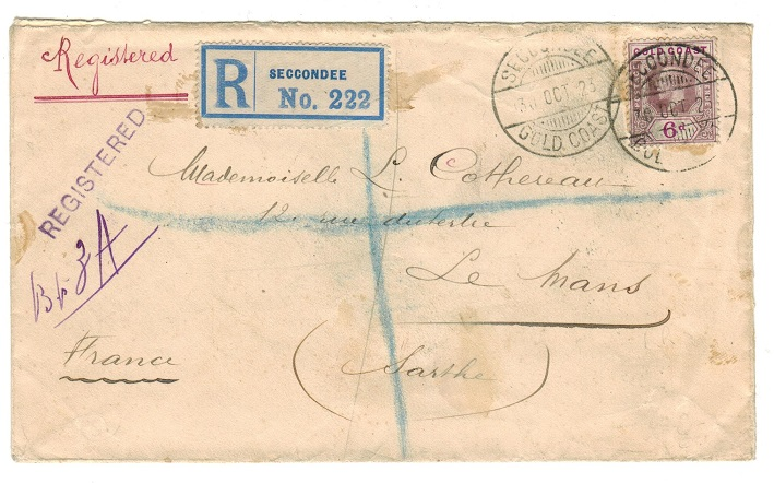 GOLD COAST - 1923 6d rate registered cover to France used at SECCONDEE.