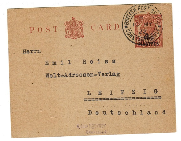 BRITISH LEVANT - 1920 4 1/2p on 1 1/2d brown PSC to Germany used at CONSTANTINOPLE.  H&G 24.