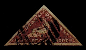 CAPE OF GOOD HOPE - 1863 1d deep brown red